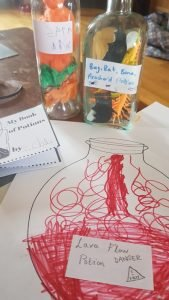 Halloween spell book and bottle
